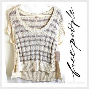 Free People Wide Rib Hi Low Knit Nwt Sweater S